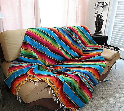 "Mexican Sarape Serape Saltillo Blanket Huge,  X-Large 84"" X 60"";  Made In Mexico"