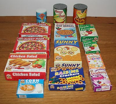 VINTAGE PLAY FOOD Toy Packets Tins Pizza Chicken Raisins Juice Pretend