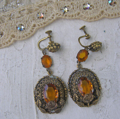 Vintage Art Deco Era Screw Back Amber Citrine Glass Brass Flower earrings