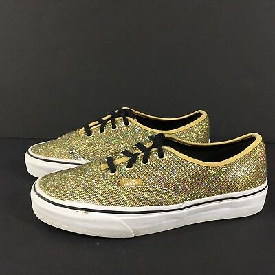 881fd047215 Authentic VANS Gold Glitter Skate Lace-Up Sneaker Womens Size 6.5 Mens 5