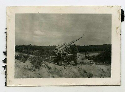 Original photo of knocked out captured german flak 88 cannon