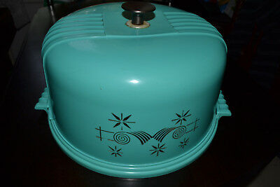 Vintage Retro Turquoise Hard Plastic Cake Plate And Cover