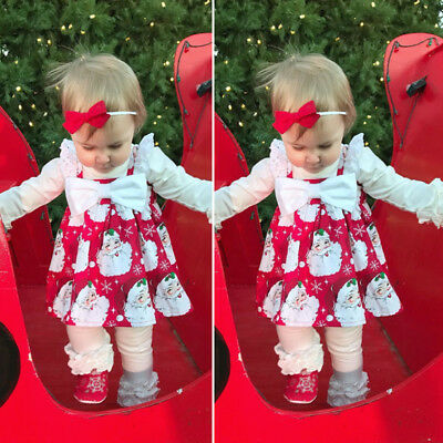Christmas Toddler Kids Baby Girls Lace Bow Party Sleeveless Dress Clothes USA