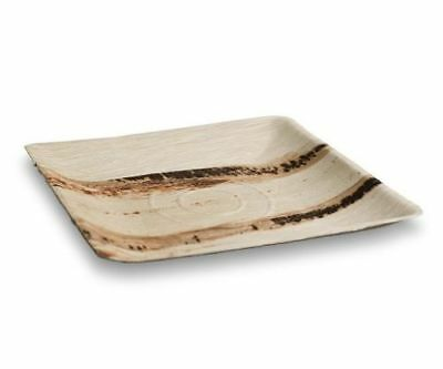 100pcsX Square Palm Leaf Plates Deep 25cm Wood Bamboo Biodegradable Eco Friendly