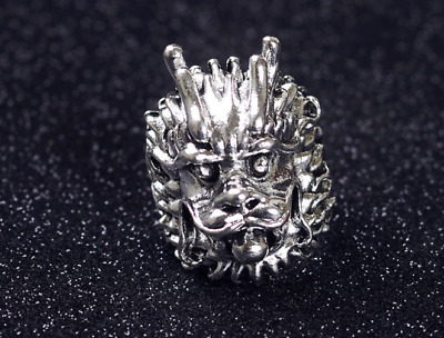 Tibetan Silver Ring Carved Leopard Head china