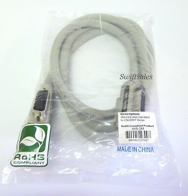 BAFO 488-2M 2M IEEE-488 GPIB Cable Metal Hood Centronics 24P M/F Both Ends - New