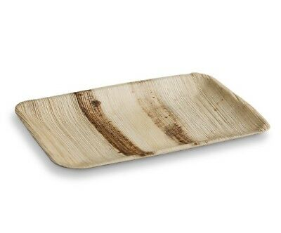 100pcs x Rectangle Palm Leaf Plates Deep 230x150mm Wood Bamboo Eco Friendly BULK