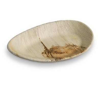 100pcs x Oval Palm Leaf Plates Deep 25cm Wood Bamboo Biodegradable Eco Friendly