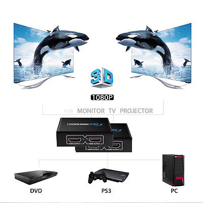 Full HD HDMI Splitter 1in to 2 4 8 out Port Hub Repeater Amplifier v1.4 3D 1080p