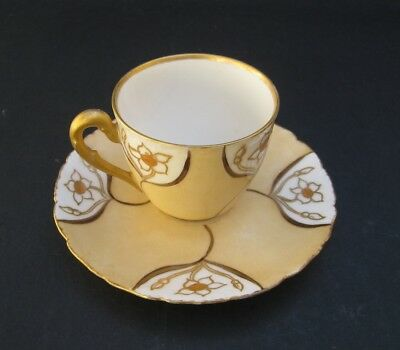 Vintage Doll-Size Limoges Cup & Saucer - Hand painted by E.B. Luxton  in 1909