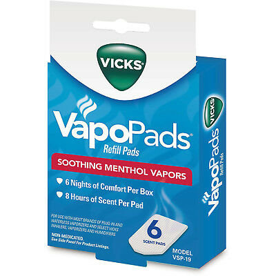 Vicks VapoPads Refill Pads Soothing Menthol Vapors 6 Scent Pads