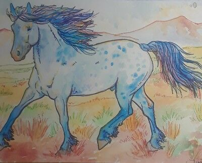 "Original Watercolor Painting 7.5""×11"" Blue Horse, Signed By Artist"