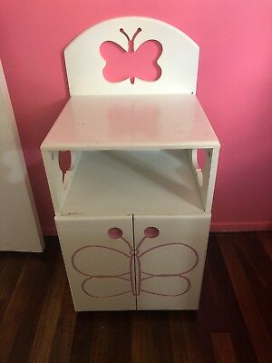 Girl White Bedside Table With Butterfly Design
