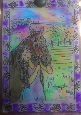 Aceo Original Painting, Girl & Horse, Framed In Copper Signed By Artist Hayden