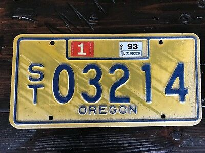 Oregon License Plate ST 03214 1993 sticker - Blue on Yellow