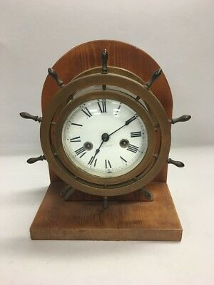 VINTAGE Brass WATERBURY SHIPS WHEEL Clock Mantel wood  KEY USA JEWELED MOVEMENT