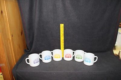 Masons Eastern Star Rainbow Girls BFCL Set Of Six Federal Glass White Mugs Vtg