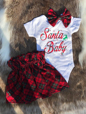 US Christmas Newborn Baby Girl Xmas Romper Tops Tutu Tulle Dress Outfit Clothes