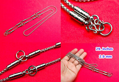 5.5MM 2hooks Stainless Steel Necklace 25 inches Solid for thai amulet handmade@3