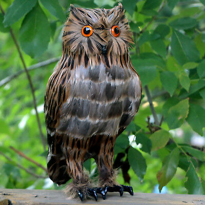 Realistic Brown Feather Owl Lifelike Bird Replica Furry Animal Garden Deterrent