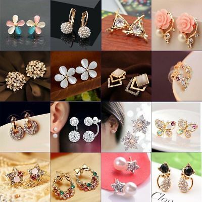 New 1 Pair Elegant Women Crystal Rhinestone Pearl Ear Stud Fashion Earrings Gift