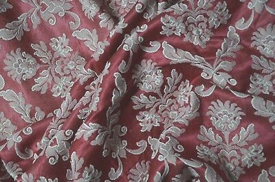 """Antique French pure cotton satin brocade burgundy and white , 1 yard 31"""" long"""
