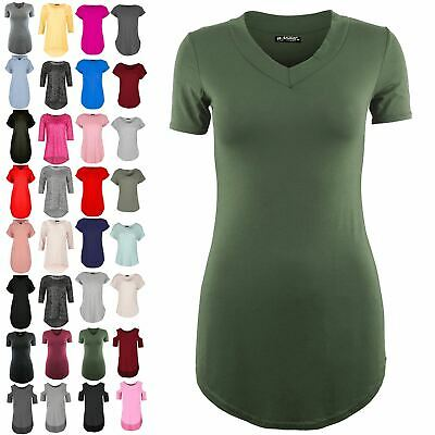 0e858920f Ladies Womens Pullover Plain Short Sleeve Curved Hem Stretchy V Neck T Shirt  Top