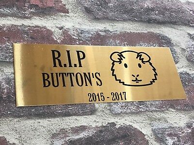 Memorial Sign Hamster Rip Chrome Gold Personalised Any Wording