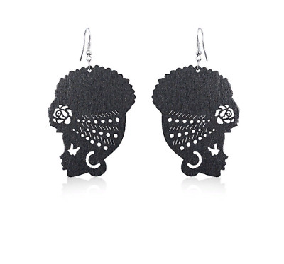 New Design African Head Wrap Turban Shaped Wooden Earrings For Women