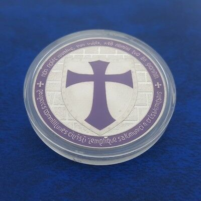 Commemorative Coin Collection Purple European Knight Coins Cross Dollar Money