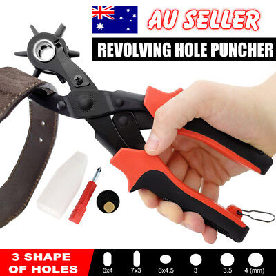 Round Flat Oval 3 In 1 Revolving Leather Belt Eyelet Hole Punch Puncher Plier