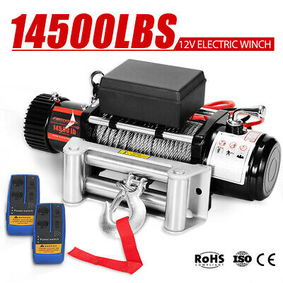 Wireless 12V Electric Winch Steel Cable 4WD Recovery 14500LBS vs 12000LBS 12Volt