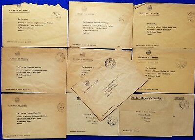 1970's< Malta & Gozo Collection of 10 Village Cancels Gov. Covers Inc.Welfare