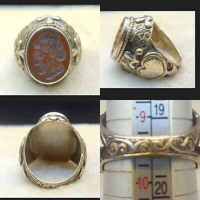 Very Rare Agate Stone Roman Warrior Face With Old Sterling Silver Ring #v1