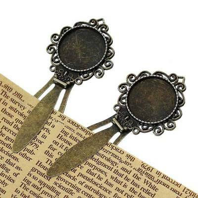 5PCs Metal Bookmarks Round Antique Bronze Cabochon Setting Lead hot