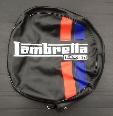 "Spare wheel cover 10"" Lambretta logo black/red/blue for Lambretta"