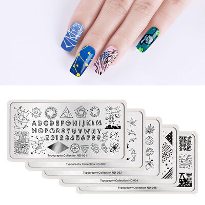 NICOLE DIARY Nail Art Stamping Plates Typography Pattern Galaxy Character Stars