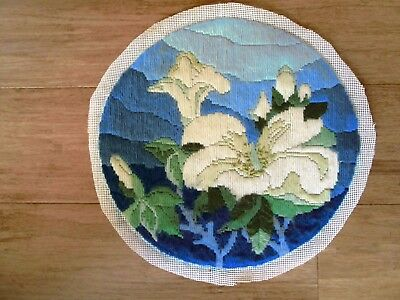 Completed Long Stitch  Of White Flowers & Mountains 29Cms Round