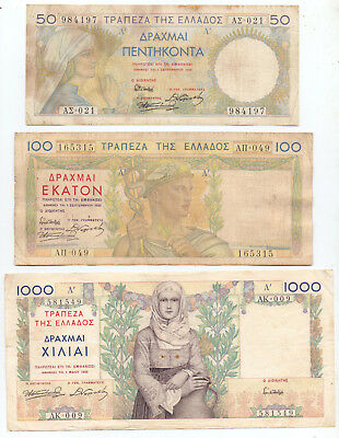 Greece Set 50, 100, 1000 Drachmas 1935 Printed in France , P-104,105,106
