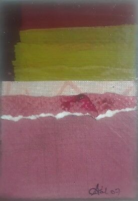 Aceo Original Collage, Geo #1, Signed By Artist Lisa Carney, Asil Art