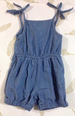 The Kidstore Baby Girls Chambray Playsuit Size 0-3 Months 000