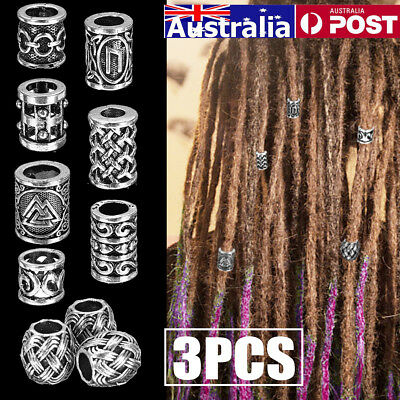 AU 8 Types 3X Tibetan Silver Hollow Bend Tube Dreadlock Spacer Beads Jewelry