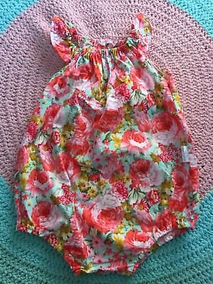 Girls Beautiful Handmade Colourful Floral Romper - Size 3