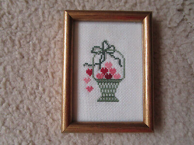Completed Framed Cross Stitch Of A Basket Of Hearts Frame 8.5X11.5Cms