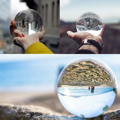 Clear Glass Crystal Ball Healing Sphere Photography Props Lensball Decor Gift