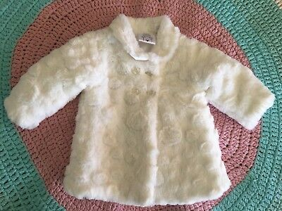 Brand New Baby Girl Cream Fluffy Winter Coat - Size 0