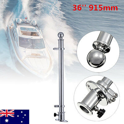 36'' 316 Stainless Steel Flag Pole With Socket Base For Marine Boat Yacht 915mm
