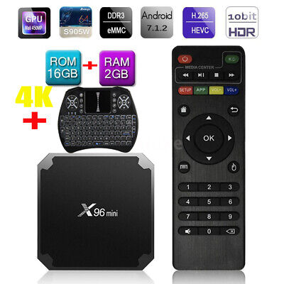 X96 MINI Smart TV BOX S905W 2G+16G Android 7.1.2 4K Quad Core WIFI avec Clavier