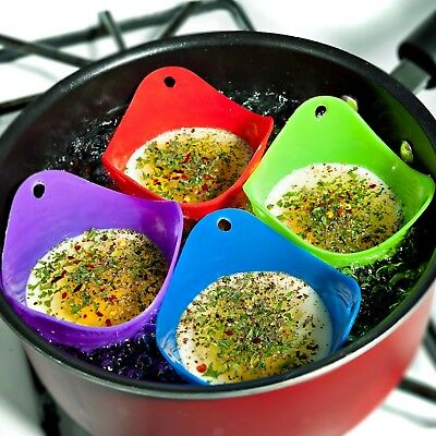 SK Pro Style 4PCS Egg Poacher Silicone Cooking Perfect Poached Eggs Molds