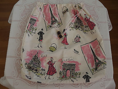 """Handmade Duster Bag w/""""PARIS"""" Barkcloth Fabric x Shoes/Lingerie or others, NEW"""